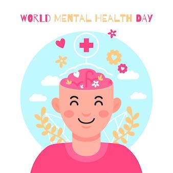 Płaski światowy dzień zdrowia psychicznego z człowiekiem i liśćmi