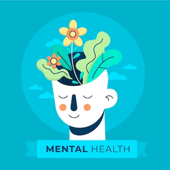Płaski światowy dzień zdrowia psychicznego z głową i kwiatami