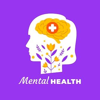 Płaski światowy dzień zdrowia psychicznego z głową i kwiatem