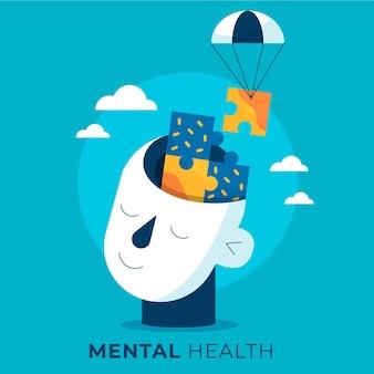 Płaski światowy dzień zdrowia psychicznego z głową i puzzlami
