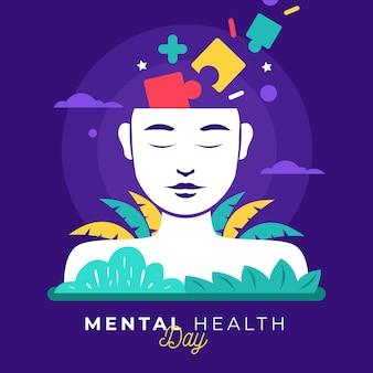 Płaski światowy dzień zdrowia psychicznego z układanką