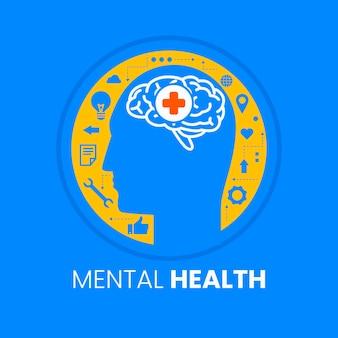 Płaski światowy dzień zdrowia psychicznego