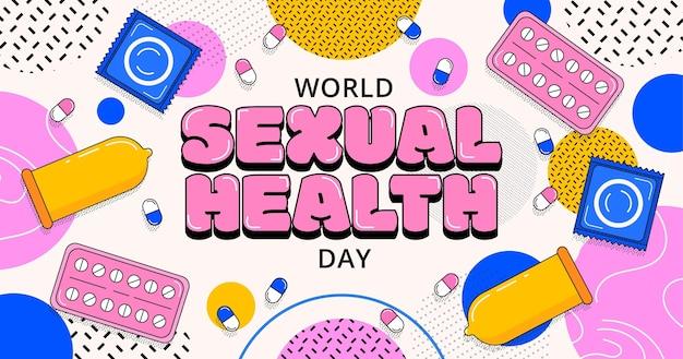 Płaski światowy dzień zdrowia seksualnego ilustracja