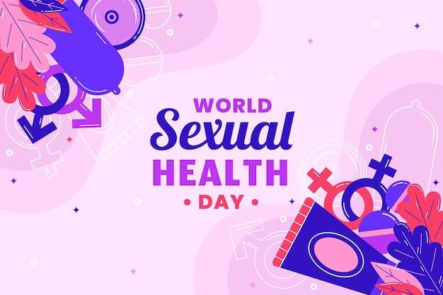 Płaski światowy dzień zdrowia seksualnego w tle