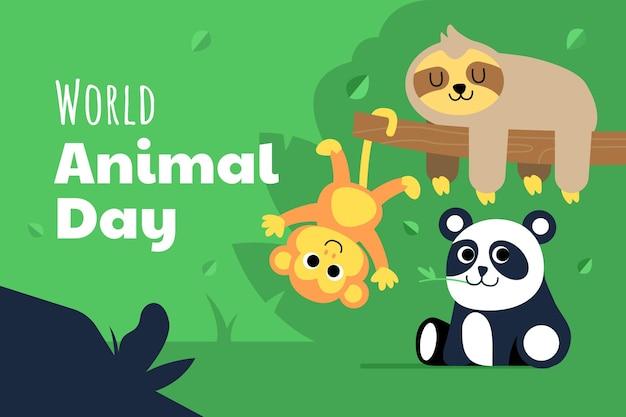 Płaski światowy dzień zwierząt ilustracja