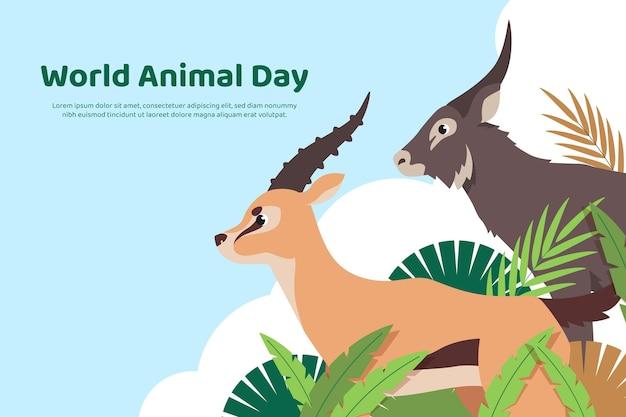 Płaski światowy dzień zwierząt w tle
