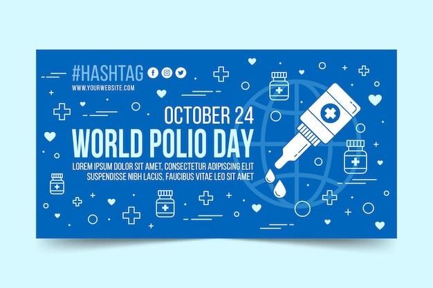 Płaski światowy szablon postu z okazji polio w mediach społecznościowych