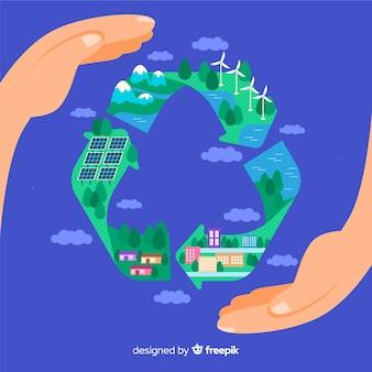 Płaski symbol recyklingu z zielonymi polami