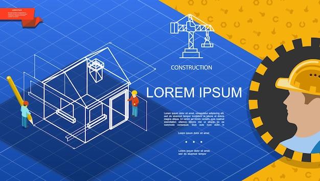Płaski szablon branży budowlanej z konstruktorem i inżynierami projektuje model domu na niebieskim tle ilustracji