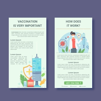 Płaski Szablon Broszury Informacyjnej O Szczepieniu Przeciwko Koronawirusowi Darmowych Wektorów