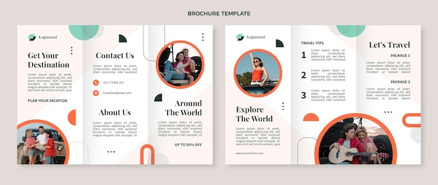 Płaski szablon broszury trójdzielnej podróży
