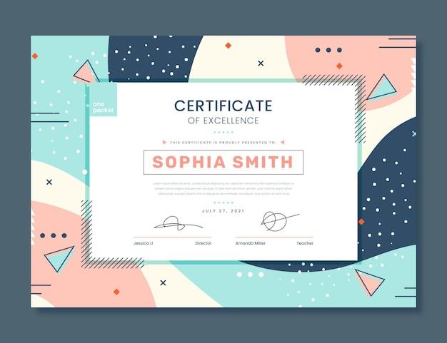 Płaski szablon certyfikatu doskonałości