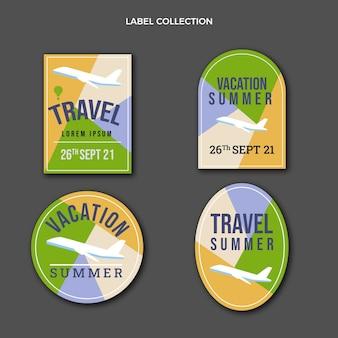 Płaski szablon etykiet podróżnych