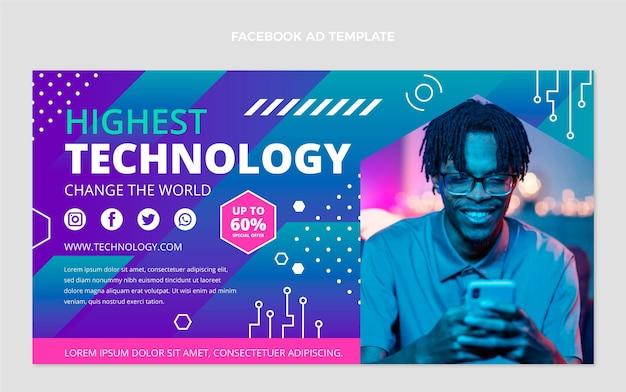 Płaski szablon facebook o minimalnej technologii