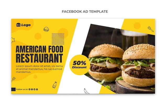 Płaski szablon facebook z jedzeniem