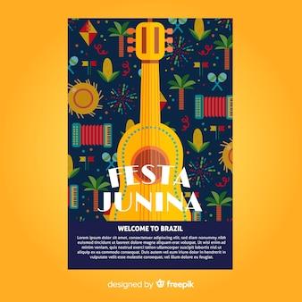 Płaski szablon festa junina plakat