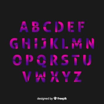 Płaski szablon gradientu alfabetu