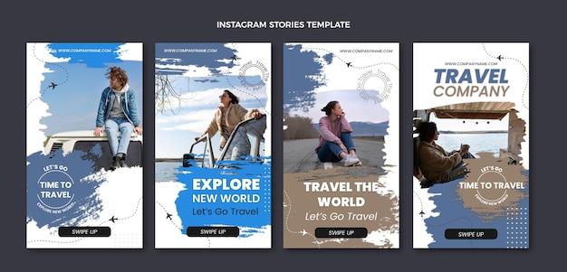Płaski szablon historii podróży na instagramie