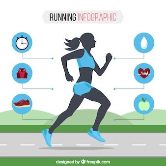 Płaski szablon infograficzny z kobietą biegnącą i niebieskimi detalami