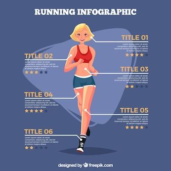 Płaski szablon infograficzny z kobietą biegnącą