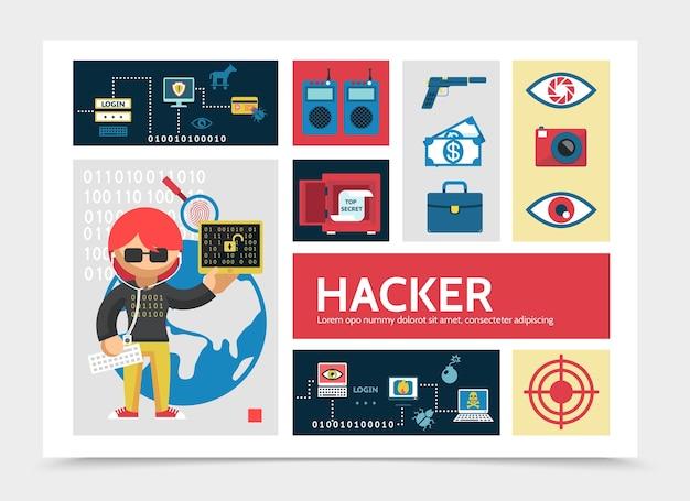 Płaski szablon infografiki aktywności hakera