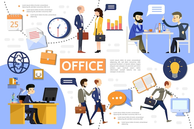 Płaski szablon infografiki biura biznesowego z menedżerami biznesmeni zegar w miejscu pracy