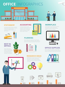 Płaski szablon infografiki biuro