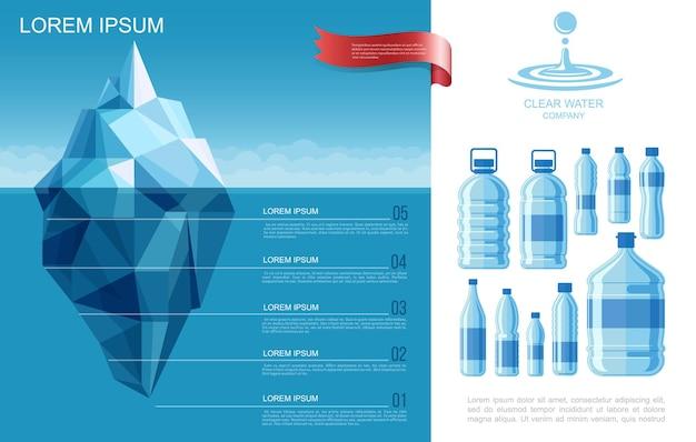 Płaski szablon infografiki czystej wody z górą lodową w oceanie i plastikowych butelkach czystej wody