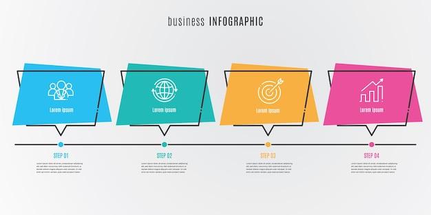 Płaski szablon infografiki osi czasu 4 kroki