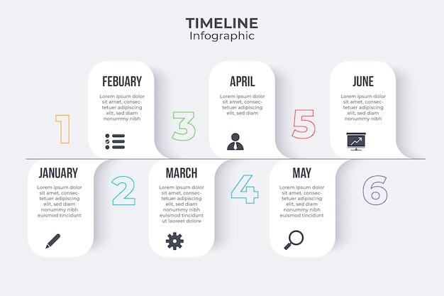 Płaski Szablon Infografiki Osi Czasu Darmowych Wektorów