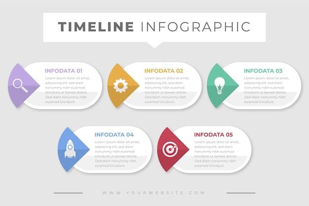 Płaski szablon infografiki osi czasu