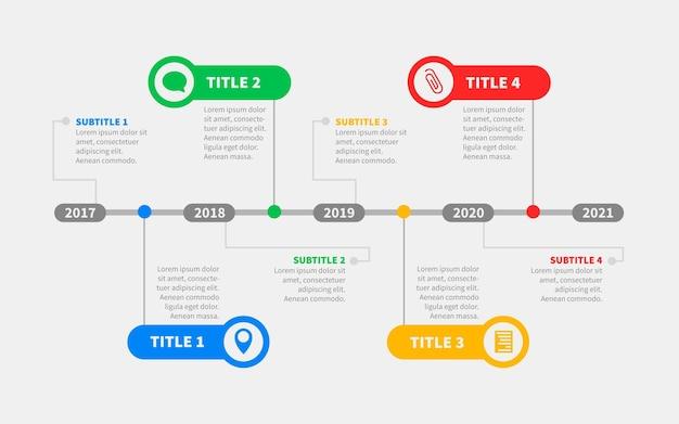 Płaski Szablon Infografiki Osi Czasu Premium Wektorów