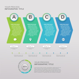 Płaski szablon infografiki procesu projektowania