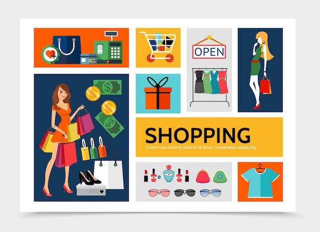 Płaski szablon infografiki zakupów