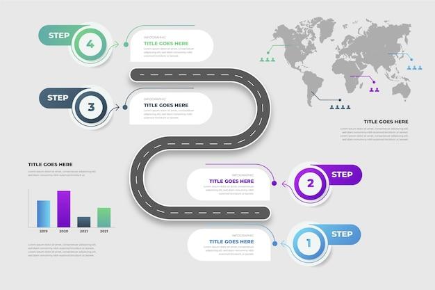 Płaski szablon infografikimap