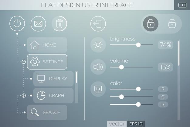 Płaski szablon interfejsu użytkownika z ikonami, suwakami i elementami sieciowymi dla mobilnego menu i nawigacji