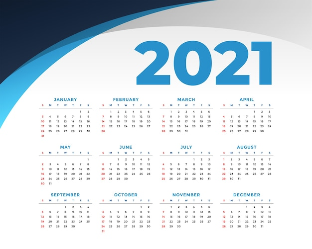 Płaski szablon kalendarza nowy rok