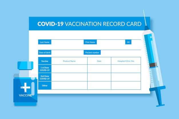 Płaski szablon karty szczepienia przeciwko koronawirusowi