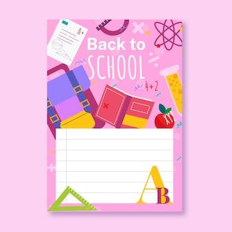Płaski szablon karty z powrotem do szkoły