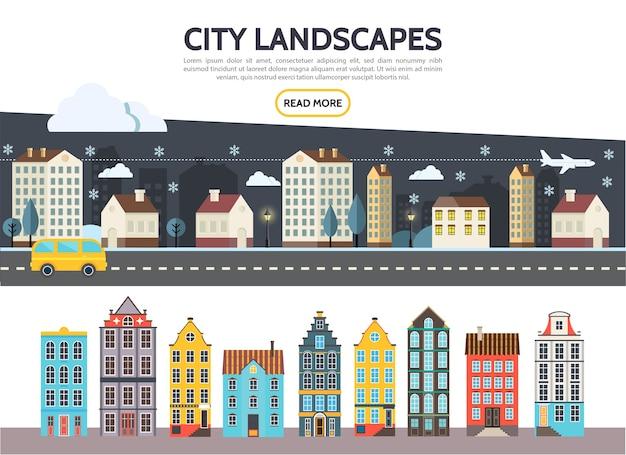 Płaski szablon krajobrazu miasta z nocnymi zimowymi budynkami wieżowcami o różnej architekturze