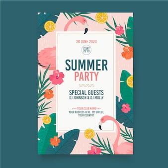 Płaski szablon lato party plakat szablon