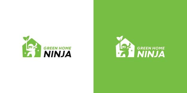 Płaski szablon logo ninja darmowych wektorów