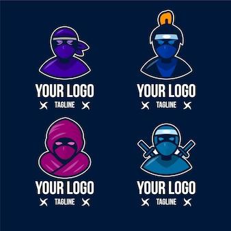 Płaski szablon logo ninja