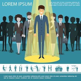 Płaski szablon ludzi biznesu z grupą menedżerów przedsiębiorców przedsiębiorców i biznesmenów ikony ilustracja,