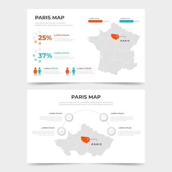 Płaski szablon mapy paryża