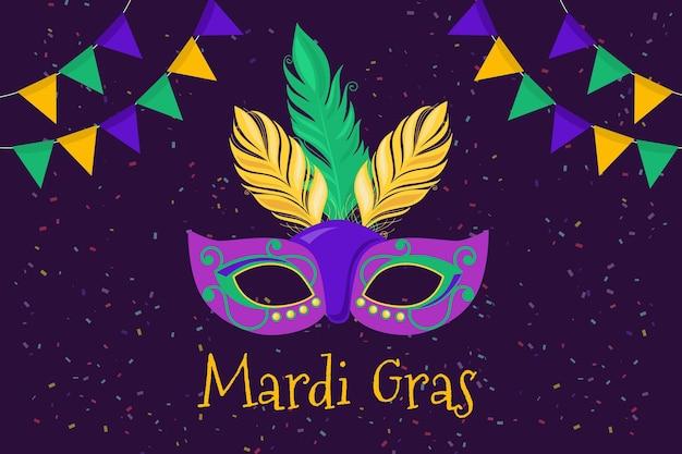 Płaski szablon mardi gras