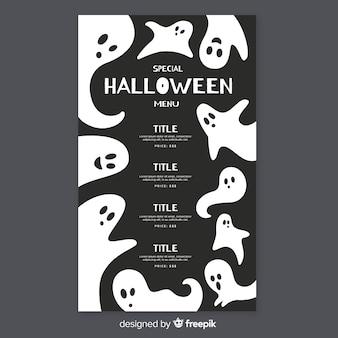 Płaski szablon menu halloween z duchami