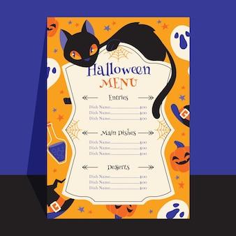Płaski szablon menu halloween