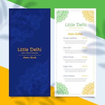 Płaski szablon menu indyjskiego