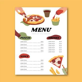 Płaski szablon menu restauracji pizzy